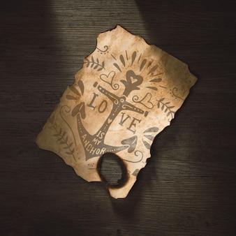 Oud papier mockup voor avontuur concept