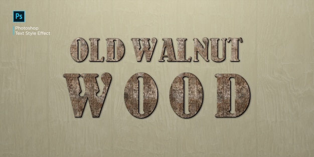 Oud walnoot teksteffect