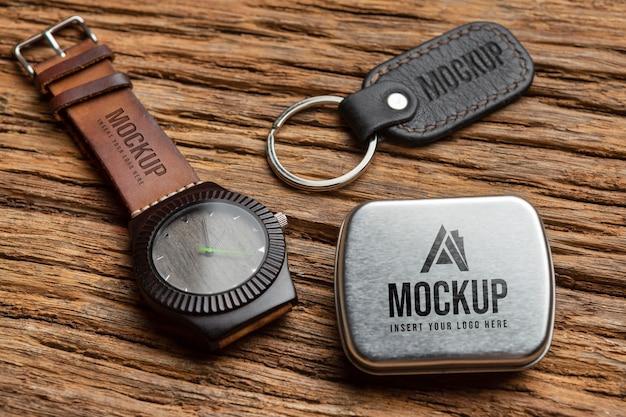 Oude merchandising accessoire mock-up arrangement