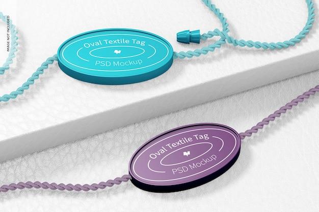 Ovaal textiel tags mockup, perspectief