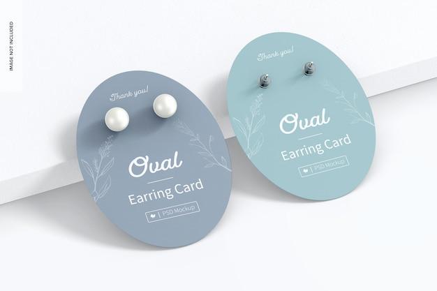 Ovale earring cards mockup, leunend
