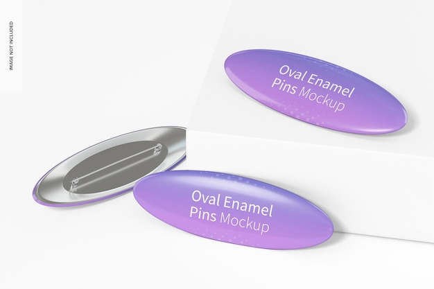 Ovale emaille pins mockup, gedropt
