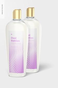 Ovale flessen met mockup met schijfdop, vooraanzicht