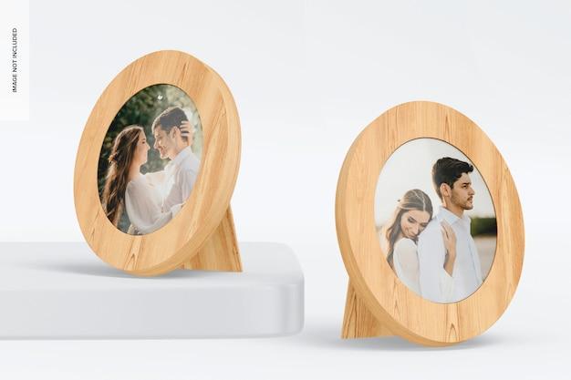 Ovale fotolijsten mockup, omhoog en omlaag