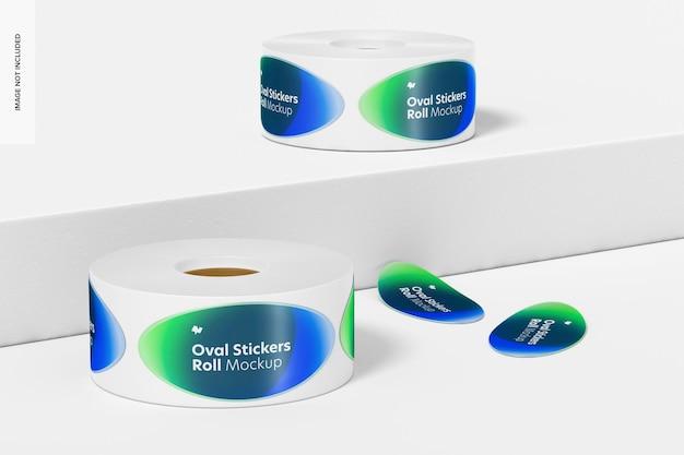 Ovale stickers rolls mockup, vooraanzicht