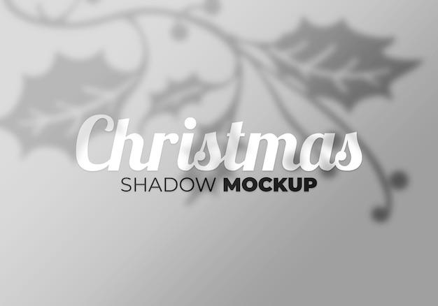 Overlay kerstschaduw mockup-effect van bladeren