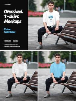 Oversized t-shirt mockup urban style. ontwerp is eenvoudig in het aanpassen van afbeeldingen, t-shirt, kleurent-shirt, heide-textuur.