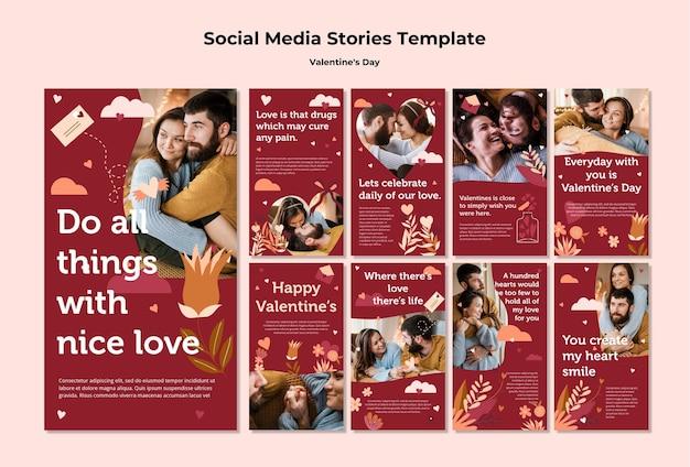 Paar gelukkige valentijnsdag instagram verhalen sjabloon