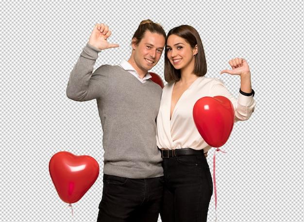 Paar in dag van de valentijnskaart trots en zelfverzekerd verliefd zelf concept