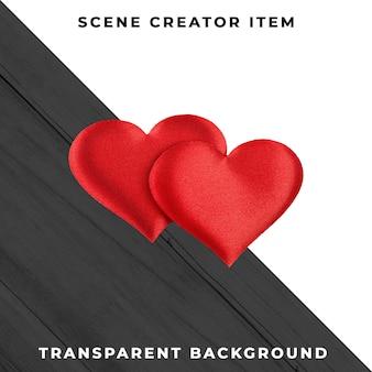Paar rode harten dat met het knippen van weg wordt geïsoleerd.