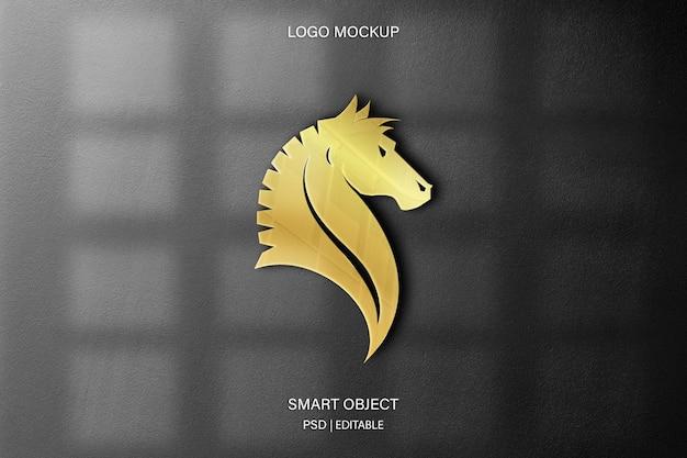 Paard logo mockup op de muur