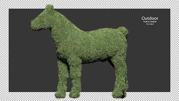 Paard vormige tuin heggen in 3d-rendering geïsoleerd
