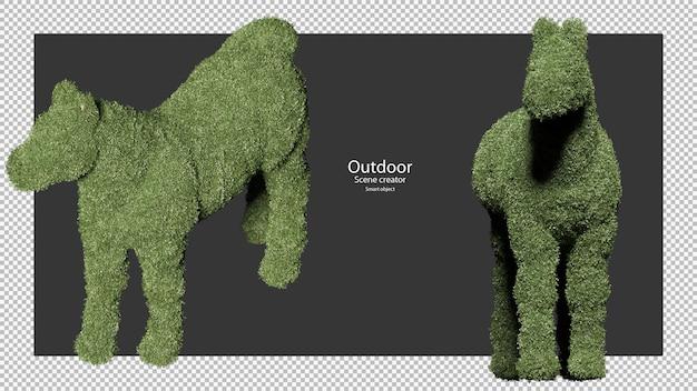 Paard vormige tuin heggen in 3d-rendering geïsoleerd Premium Psd