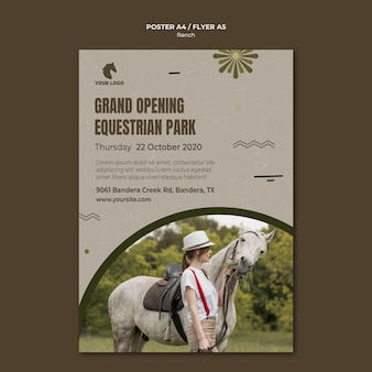 Paardenboerderij poster sjabloon