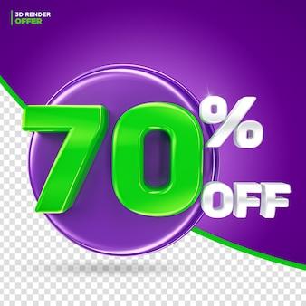 Paars en groen 70 procent korting op korting 3d render