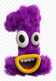 Paarse cartoon karakter monster gezicht hoofdletter. 3d render alfabet geïsoleerd.