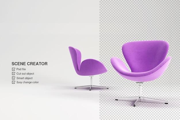 Paarse fauteuil in 3d-rendering geïsoleerd