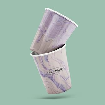 Paarse marmeren kopjes mockup psd handgemaakte experimentele kunst