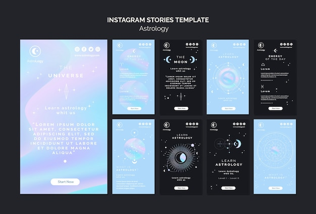 Pacchetto di storie di instagram di astrologia