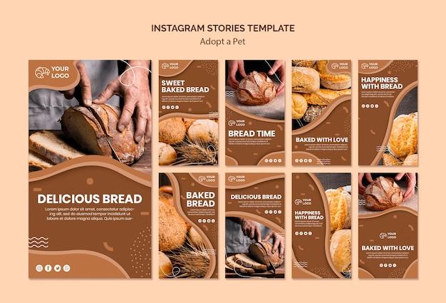 Pacchetto di storie di instagram per attività di cottura del pane
