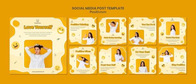 Pack de publicaciones de instagram para positivismo con mujer feliz