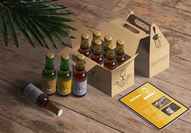 Packaging mockup para botellas de cerveza o vino en restaurante