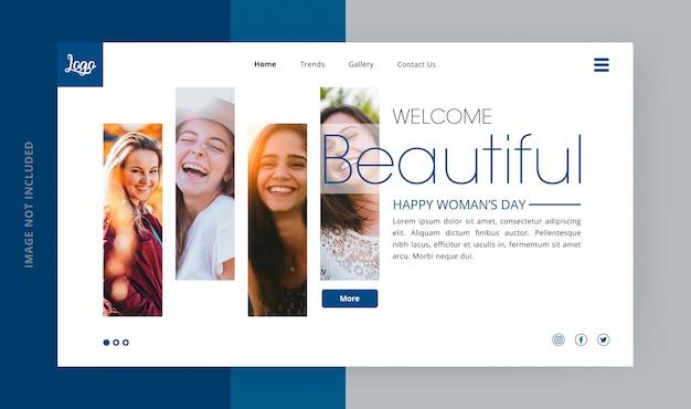 Página de aterrizaje del hermoso día de la mujer