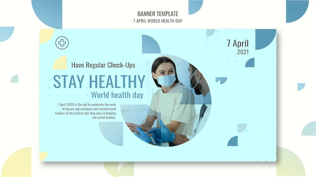 Página de banner horizontal del día mundial de la salud con foto