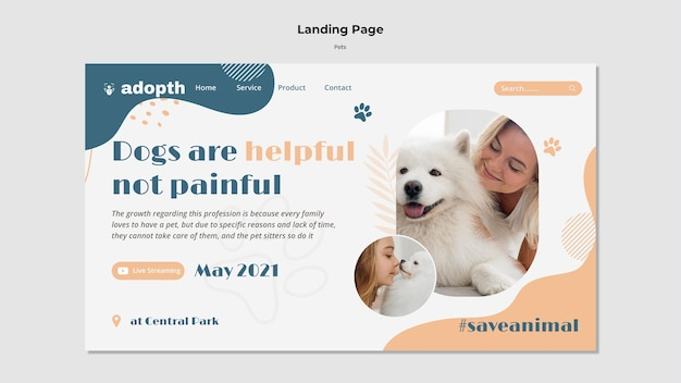 Página de destino para la adopción de mascotas