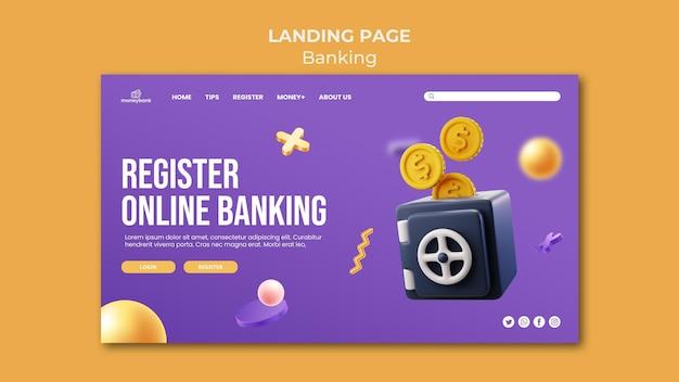 Página de destino para banca y finanzas en línea