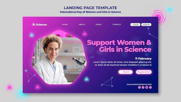 Página de destino para el día internacional de las mujeres y las niñas en la celebración de la ciencia con una científica