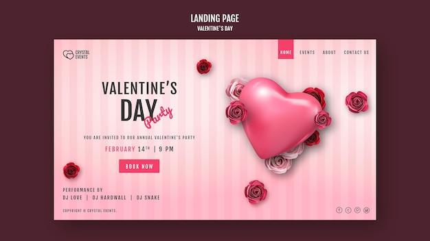 Página de destino para el día de san valentín con corazón y rosas rojas.