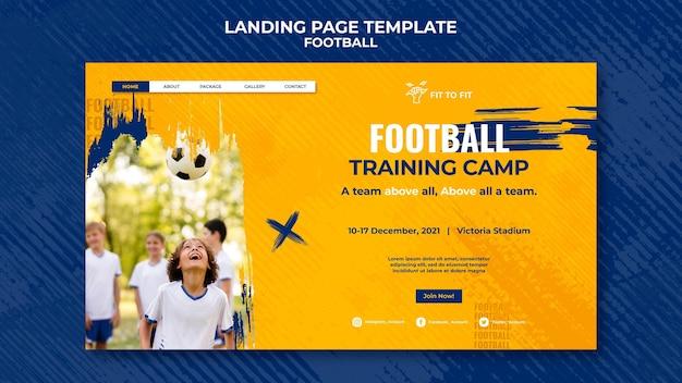 Página de destino para el entrenamiento de fútbol infantil.