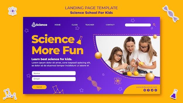 Página de destino de la escuela de ciencias para niños.