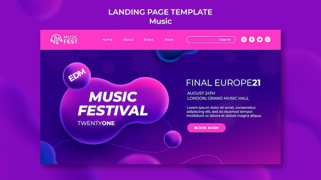 Página de destino para festival de música electro con formas de efecto líquido neón