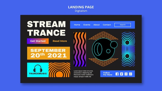 Página de destino para el festival de música trance 2021
