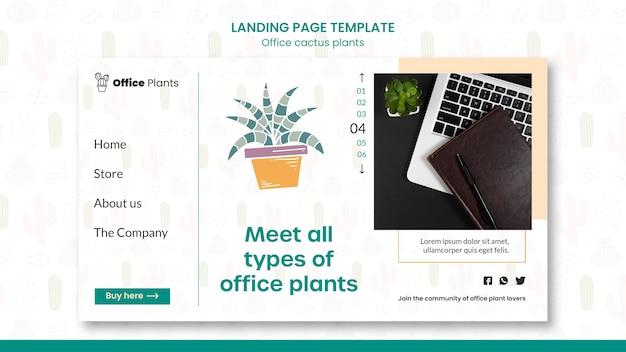 Página de destino para plantas de espacio de trabajo de oficina.