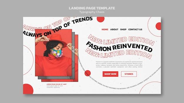 Página de destino para las tendencias de la moda con mujer con mascarilla