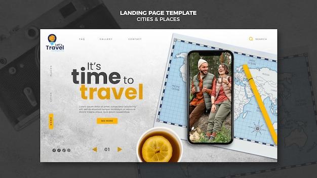 Página de destino del tiempo de viaje