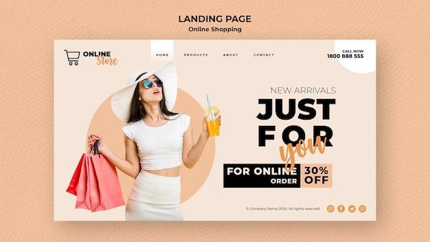 Página de destino para venta de moda en línea