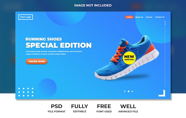 Pagina di atterraggio moderna blu semplice di scarpe sportive