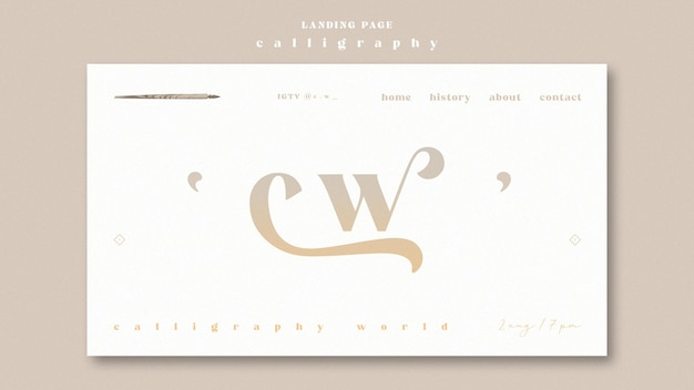 Pagina di destinazione calligrafia