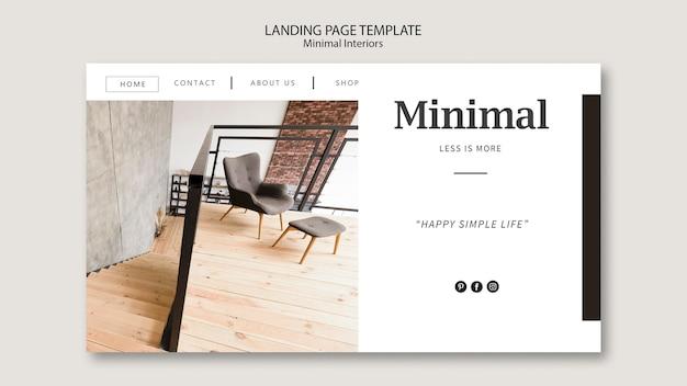 Pagina di destinazione degli interni minimal