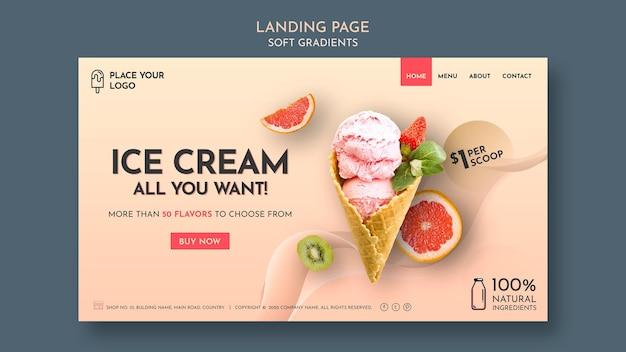 Pagina di destinazione del gelato a gradiente morbido