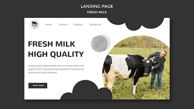 Pagina di destinazione del latte fresco