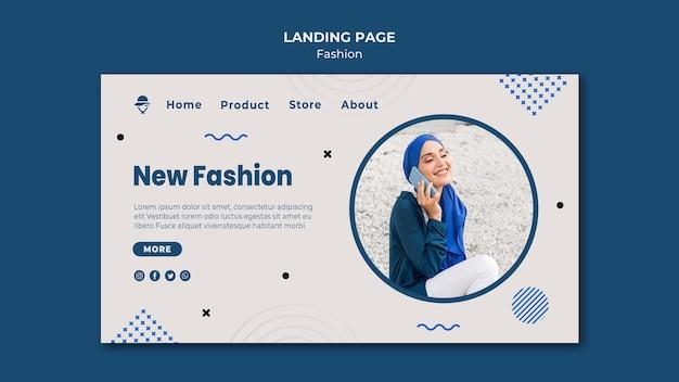 Pagina di destinazione del modello di negozio di moda