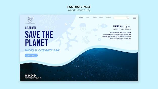 Pagina di destinazione del modello giornata mondiale dell'oceano