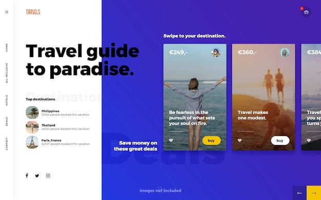 Pagina di destinazione del modello web per viaggi estivi