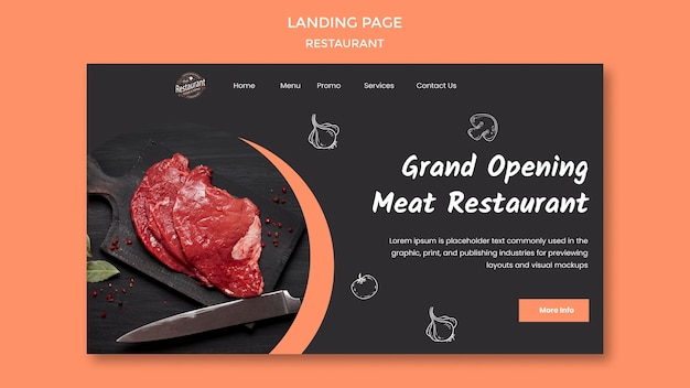 Pagina di destinazione del ristorante di carne di grande apertura