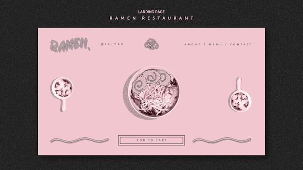 Pagina di destinazione del ristorante di noodle ramen